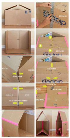 Easy to make cardboard playhouse // Turn a cardboard box into hours of entertainment for your little ones with this DIY collapsible playhouse. This cardboard playhouse was created, especially with small spaces in mind, because when the kids tire of it, th Cardboard Playhouse, Cardboard Toys, Cardboard Box Houses, Cardboard Furniture, Cardboard Box Ideas For Kids, Cardboard Gingerbread House, Cardboard Dollhouse, Diy Projects Cardboard Boxes, Cardboard Houses For Kids