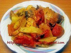 Κοτόπουλο με πατάτες κοκκινιστό στη γάστρα