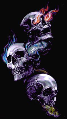 Jeneil Clark's statistics and analytics Evil Skull Tattoo, Skull Rose Tattoos, Skull Tattoo Design, Ghost Rider Wallpaper, Skull Wallpaper, Dark Fantasy Art, Dark Art, Inka Tattoo, Sugar Skull Art