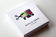 Natalie Ebnet Logo & Business Cards « Mattson Creative in Business Cards Square Business Cards, Cool Business Cards, Business Card Logo, Business Card Design, Creative Business, Corporate Business, Corporate Identity, Web Design, Book Design