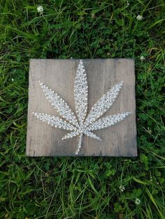 These weed leaf string art signs are hand strung with string on a 11 x 10 inch weathered boards. Due to the nature of the wood, each piece is unique and may vary from what you see in the picture but we feel that this makes each order a real one of a kind. Marijuana Decor, Marijuana Leaves, Leaf Outline, Hemp Leaf, Stoner Art, Crochet Leaves, Art Party, Funky Decor, Crafts
