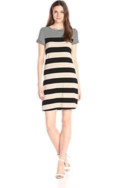 Calvin Klein Women's S/s T-Shirt Dress, Latte/Black Latte/Black Stripe, Large ❤ Calvin Klein Women's Collection