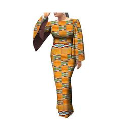 African clothes casual Women full cloak sleeve o-neck ankle-length wom – Owame African Maxi Dresses, African Fashion Ankara, African Print Fashion, African Attire, African Wear, African Print Clothing, African Clothes, Casual Dresses For Women, Casual Outfits