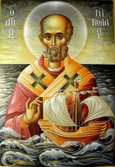 Feast day of Saint Nicholas, Bishop of Myra. A blessed feast and Happy Name day for all who celebrate! Religious Images, Religious Icons, Religious Art, Byzantine Icons, Byzantine Art, Greek Icons, Saint Nicolas, Russian Icons, Catholic Saints