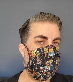 100% Cotton Reusable, Washable, Face Mask with ties, Dust Mask, Mouth Mask, Travel Mask, Fun Print.