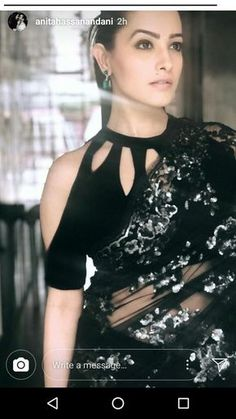 Saree jacket designs - bollywood and TV actress anita hassanandani gorgeous in black & silver sequins saree and cold shoulder, halter like saree choli blouse with cutouts on neckline and shoulders , and the perfect natural Choli Designs, Choli Blouse Design, Saree Blouse Neck Designs, Fancy Blouse Designs, Designs For Dresses, Black Saree Blouse, Neckline Designs, Lehenga Blouse, Saree Jacket Designs Latest