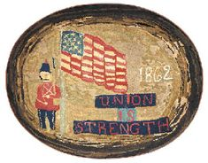 """19th Century Civil War """"Union is Strength"""" Hooked Rug. ...~♥~"""