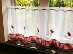 GBP - Poppy Gingham Restaurant Kitchen Cafe Embroidered Curtain Drape Panel X & Garden Voile Curtains, Cafe Curtains, Kitchen Curtains, Country Curtains, White Restaurant, Restaurant Kitchen, Red Kitchen, Country Kitchen, Macedonia