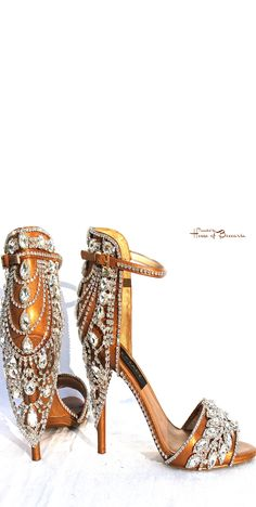 ~House of Face - Swarovski Crystal Embellished Gold Sandals | House of Beccaria