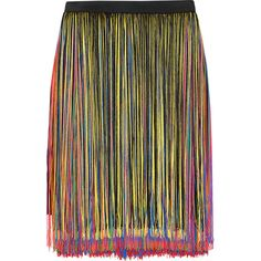 Christopher Kane Fringed stretch-satin skirt ($695) ❤ liked on Polyvore featuring skirts, christopher kane, black, christopher kane skirt, black fringe skirt, fringe skirt and black skirt