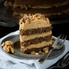 My recipe for a classic Coffee & Walnut Cake. Three layers of delicious coffee sponge packed full of chopped walnuts and topped with smooth coffee buttercream. Pudding Desserts, No Bake Desserts, Delicious Desserts, Dessert Recipes, Icing Recipes, Delicious Cookies, Sweet Desserts, Coffee Sponge Cake, Coffee Cake