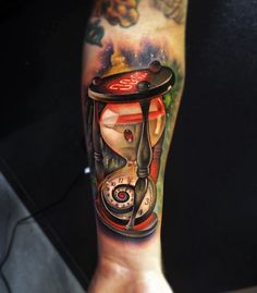 This tattoo on the inside of the hand looks very modern. Combination of colors is perfect so that you only have to choose and find the right tattoo artists!
