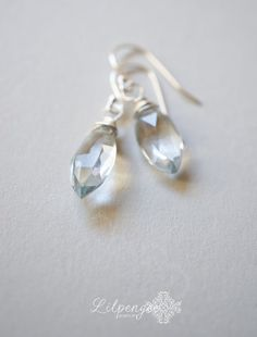 f r o s t  faceted aquamarine marquise gemstone drops by lilpengee, $18.00