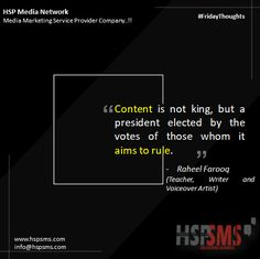 This quote has such power. Many digital marketers think of content as a king, ruling everything else. The success of content is rather something that the community and audience decide. HSP Media Network (Media Marketing Service Provider Company) #fridayvibes #fridaythoughts #marketingthoughts #thoughtsoftheDay #marketing #friday #fridaymotivational #bulksms #smsmarketing #marketingquote #hspsms #hspmedianetwork #content #king #digitalmarketers #contentisking Marketing Quotes, Media Marketing, Digital Marketing, Writer, Friday, Teacher, Success, Community, King