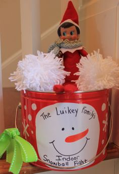 Elf on a Shelf - Antic: Brought a pail of yarn balls for an indoor snowball fight
