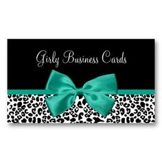 A trendy black and white leopard print boutique business card with a girly emerald green ribbon tied into a cute bow. Personalize this chic and stylish animal pattern design by adding the name of beautician. Flat printed image, not actual bow.