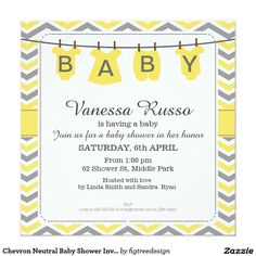 Chevron Neutral Baby Shower Invitation
