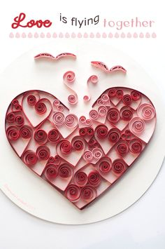 #quilling art con #cuori rossi e rosa per San Valentino. Quilled #valentine and love card with red and pink hearts