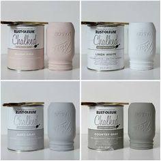 Easy DIY Chalk Painted Mason Jars What You Need: 3 mason jars Flowers Chalk paint (ultra-matte) Paint brush/waxing brush Finishing Mason Jar Projects, Mason Jar Crafts, Mason Jar Diy, Diy Projects, Woodworking Projects, Woodworking Shop, Chalk Paint Projects, Paint Ideas, Mason Jar Kitchen Decor