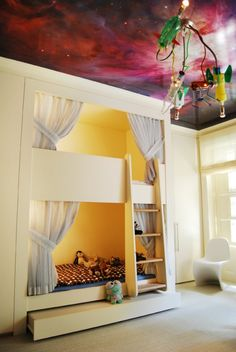 Kids Bedroom (with Galaxy Wallpaper on Ceiling) - eclectic - kids - new york - ZMK Group, Inc Bunk Beds Built In, Cool Bunk Beds, Kids Bunk Beds, Dream Rooms, Dream Bedroom, Girls Bedroom, Bedroom Decor, Awesome Bedrooms, Cool Rooms