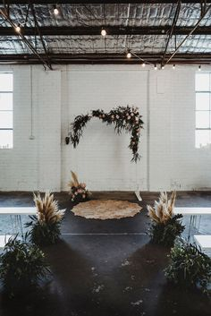 warehouse wedding with floral arch and pampas grass backdrop Lilac Wedding, Floral Wedding, Wedding Flowers, Elegant Wedding, Boho Wedding, Dream Wedding, Trendy Wedding, Wedding Bride, Summer Wedding