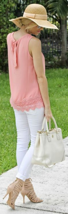 Catch Bliss Boutique Coral Lace Hem Back Bowed Tank by A spoonful of Style
