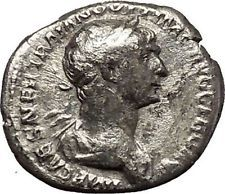 Trajan 114AD Authentic Ancient Silver Roman Coin Mars War God i53219