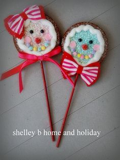 Christmas Candy Felt Gingerbread Lollipop Ornaments