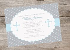 Silver and Blue or Pink Baptism Invitation by partyflairdesigns, $15.00