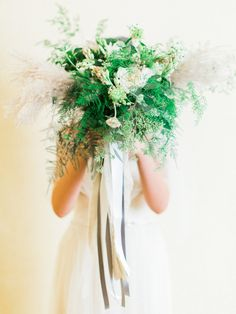 Fern and greenery wedding bouquet: http://www.stylemepretty.com/little-black-book-blog/2017/02/22/pantone-color-year-2017-greenery-inspired-styled-wedding-shoot/ Photography: Elyse Hall - http://elysehall.com/