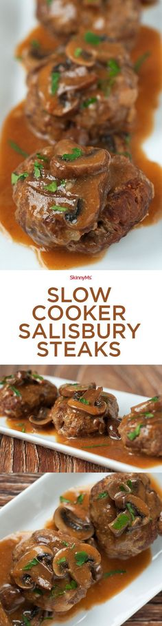 This magical Slow Cooker Salisbury Steaks recipe is a tasty throwback to the days when food was a bit simpler and homier. #dinnerrecipe #healthyrecipe #skinnyms
