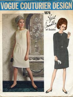 Vintage 1960s Vogue Couturier Design Pattern 1928 Sybil Connolly of Dublin Misses/' one-piece dress size 14 bust 36 hip 38 FF with label