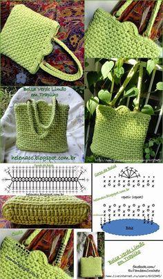 Resultado de imagen para liveinternet trapilho Crochet Backpack Pattern, Crochet Clutch, Tote Pattern, Crochet Handbags, Crochet Purses, Crochet Crafts, Crochet Projects, Knit Crochet, Crochet Designs