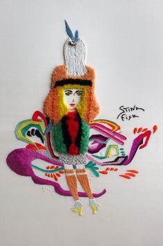 An embroidered fashion illustration based on the collaboration between 6 Street Artists and Prada for a 2014 RTW Collection - by Mary Brown, Sydney. Photographed by Yvette Stanton, Sydney