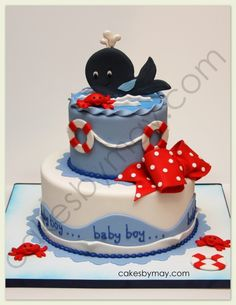 "Nautical Whale Baby Shower Cake - I was so excited about making this cake.  I made the couples wedding cake that appeared on TLC show ""Four Weddings"" and now their baby shower cake.  Soon to make the baptism cake.  Whale and little red crabs made on gumpaste."
