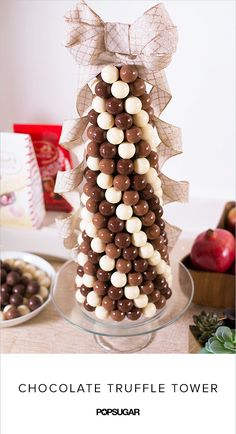This chocolate truffle tower makes a stunning holiday centerpiece, not to mention s deceptively easy to make. We'll show you how to DIY one.