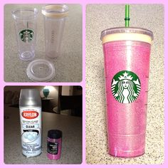 Pink Glitter Starbucks Cup!!! #afternoonproject