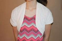 """How to Make a Shrug from a T-Shirt.  Plus sized ladies might need to leave more than a 12"""" opening for our arms."""
