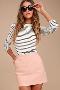 Harley Blush Pink Vegan Leather Mini Skirt - Lulus 2d6ea7e76