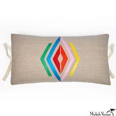 Linen Applique Pillow Navajo