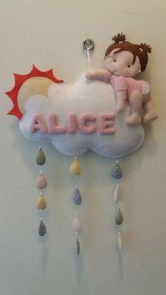 Resultado de imagem para enfeite de porta maternidade menina em cima da nuvem
