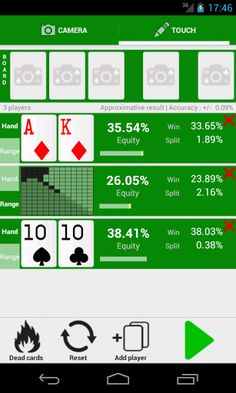 Poker Odds Camera is an application that recognizes a poker game via the camera and displays information about the game i.e. the odds and/or the value of each hand.<p>It is also possible to manually choose specific cards, random cards or a range of cards to calculate the equity.<p>This version supports Texas Hold'em and other variations will be available in the future.<p>/!\\ NOTE : This app requires an additional computer vision library that you will be asked to download the first time you…