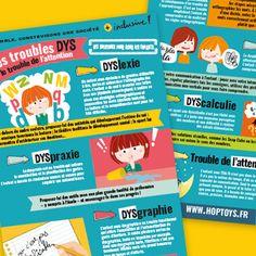 Les troubles DYS et le trouble de l'attention - Blog Hop'Toys Le Trouble, Education Positive, Ergo, Attention, Adhd, Dyscalculia, Free Infographic, Neuroscience, Self Esteem
