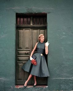 Model is wearing a two-piece slate blue dress by Heatherlane in McBratney Irish linen Image by Condé Nast Archive/Corbis