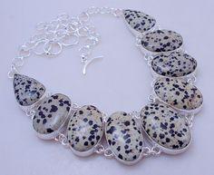 free shipping F-338 Stunning Dalmation Jasper .925 Silver Handmade Jewelry Necklace 87 Gr. by SILVERHUT on Etsy