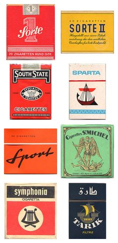 Pachete de Țigări [Vintage Cigarette Pack Designs From Around The World] Vintage Graphic Design, Retro Design, Graphic Design Inspiration, Vintage Designs, Vintage Typography, Typography Design, Lettering, Pub Vintage, Vintage Labels