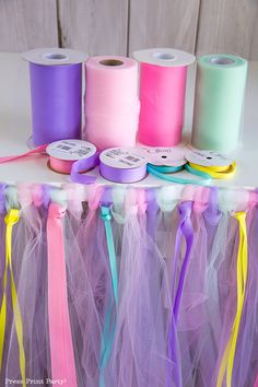 No-Sew Tulle Table Skirt Tutorial w. - - Learn how to make this easy no-sew DIY tulle table skirt w. Unicorn tulle table skirt made with pinks, purples, greens. Unicorn Themed Birthday Party, Mermaid Birthday, First Birthday Parties, Birthday Party Themes, First Birthdays, Birthday Crafts, Princess Birthday Parties, Rainbow Unicorn Party, Disney Princess Birthday