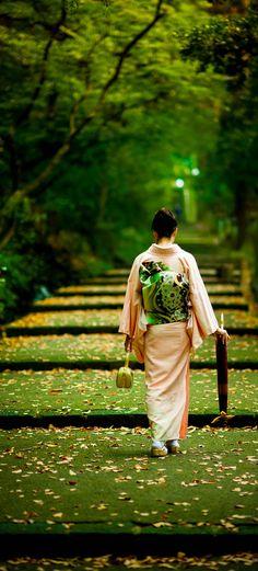 Japanese woman wearing Kimono.