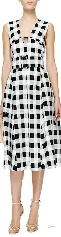 Derek Lam ● SS 2014, Belted Gingham Faille Dress (=)