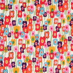 white Alexander Henry stretched flower fabric - what if we had a floral basis??? then we can have as many colors as we want without it clashing!!